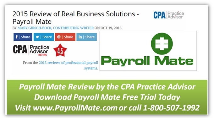 The CPA Practice Advisor Magazine Review of Payroll Mate software