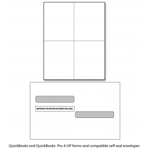 QuickBooks 4-UP W2 Paper & Envelopes - 100 Employees for 2015